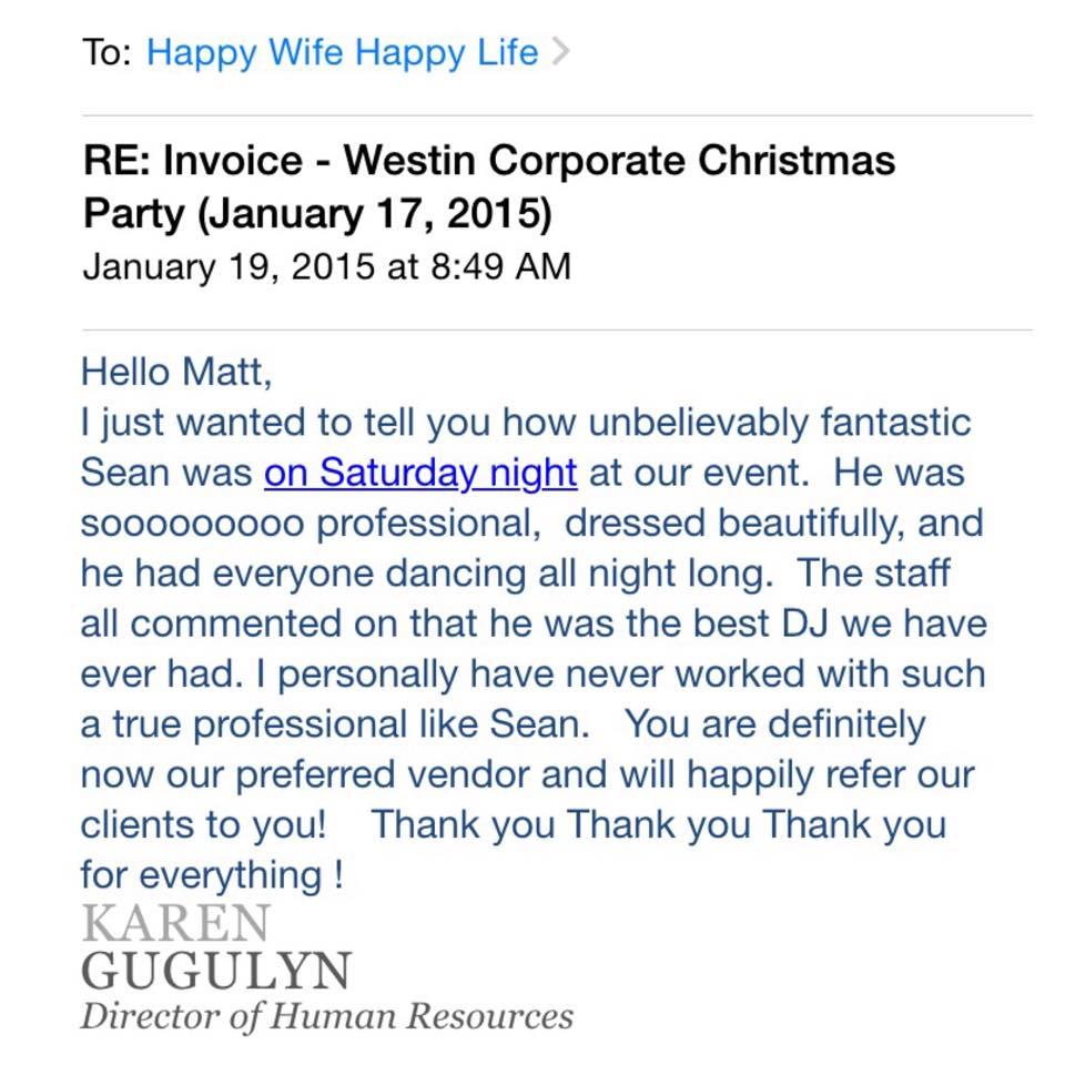 Westin Hr Thank You Letter To Happy Life Ent Happy Wife Happy Life