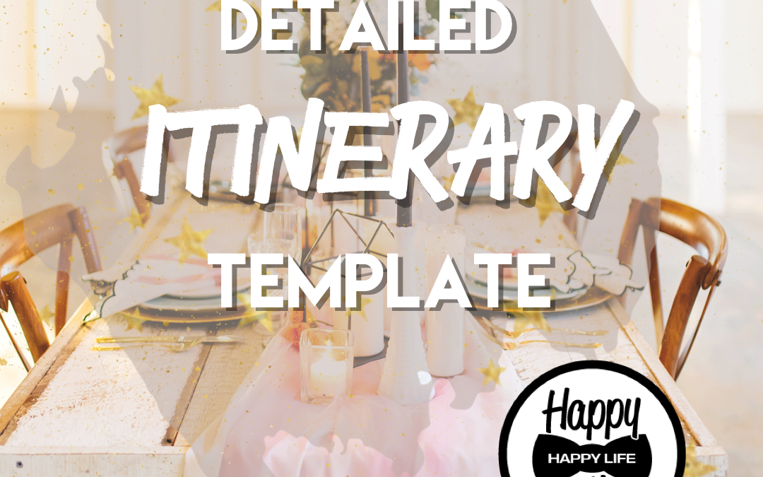 Detailed wedding itinerary template
